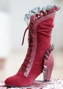Steampunk Victorian Lace Up Suede Boots Red / 34 - Go Steampunk