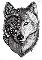 Wolf In Trees Temporary Tattoo LC-607 - Go Steampunk