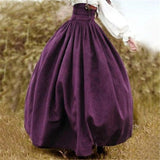 Vintage Steampunk Victorian High Waist Long Walking Skirt Purple / M - Go Steampunk