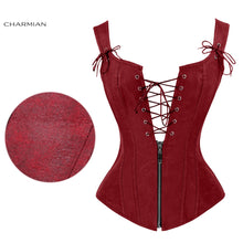 Load image into Gallery viewer, Faux Leather Low V Lace-up Front Steampunk Corset Wine Red Corset / S - Go Steampunk