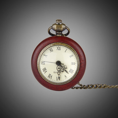 Wood Edge Open Face Pocket Watch (Red) - Go Steampunk