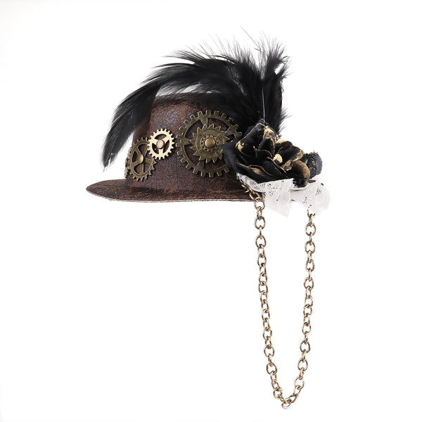 Steampunk Mini Top Hat Hair Clip (Brown One Size) Default Title - Go Steampunk