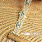 1.5 meters Colored Flower Lace 3.5cm-blue / 1.5 meters price - Go Steampunk