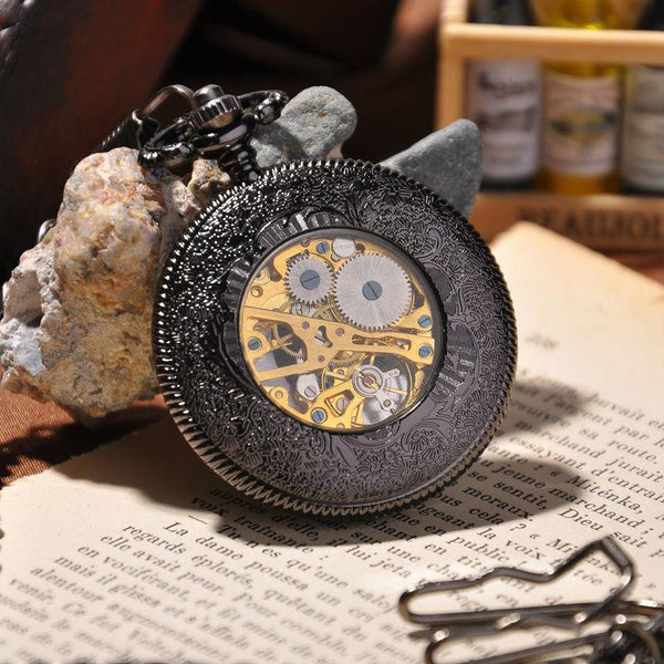 Steampunk Hand Wind Mechanical Skeleton Pocket Watch
