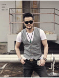 Single breasted cotton linen casual vest Gray / S - Go Steampunk
