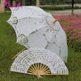 Western Style Beautiful Double-Layer Lace Parasol A0184 white - Go Steampunk