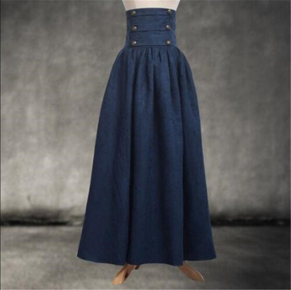 Vintage Steampunk Victorian High Waist Long Walking Skirt Blue / M - Go Steampunk