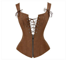 Load image into Gallery viewer, Faux Leather Low V Lace-up Front Steampunk Corset - Go Steampunk