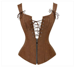 Faux Leather Low V Lace-up Front Steampunk Corset