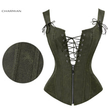 Load image into Gallery viewer, Faux Leather Low V Lace-up Front Steampunk Corset Green Corset / S - Go Steampunk