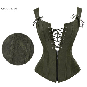 Faux Leather Low V Lace-up Front Steampunk Corset Green Corset / S - Go Steampunk