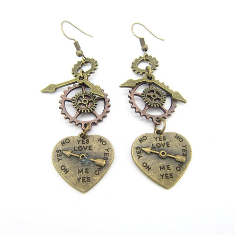 Steampunk Heart Dangle Earrings - Go Steampunk