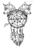 Wolf In Trees Temporary Tattoo LC-613 - Go Steampunk