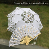 Western Style Beautiful Double-Layer Lace Parasol A0105 white kids - Go Steampunk