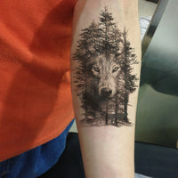 Wolf In Trees Temporary Tattoo - Go Steampunk