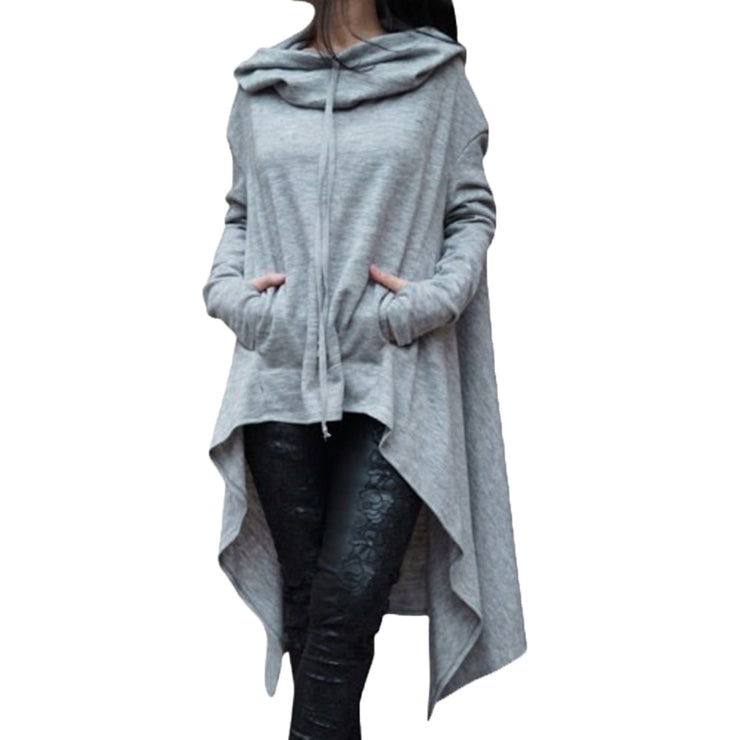 Long Pullover Plus Size Hoodie Light Gray / 4XL - Go Steampunk