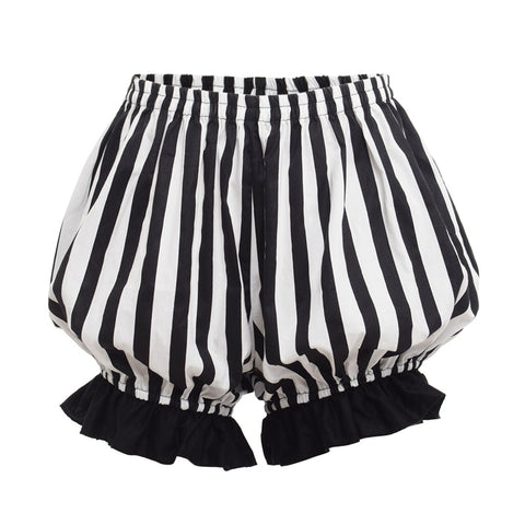 Vintage Striped Pumpkin Shorts black white / L - Go Steampunk