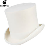 White Wool Top Hat - Go Steampunk