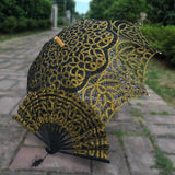 Western Style Beautiful Double-Layer Lace Parasol A0104 black gold - Go Steampunk