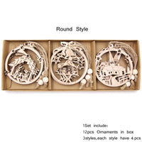 12PCS/Box Vintage Hollow Wood Christmas Ornaments Round Style - Go Steampunk
