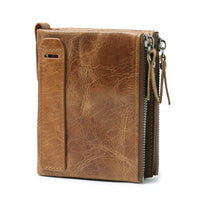 Genuine Leather Wallet Double Zipper Brown - Go Steampunk