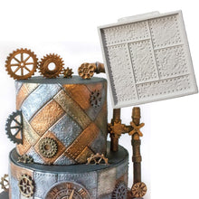 Load image into Gallery viewer, Riveted Metal Plate Silicone Fondant Mold - Go Steampunk