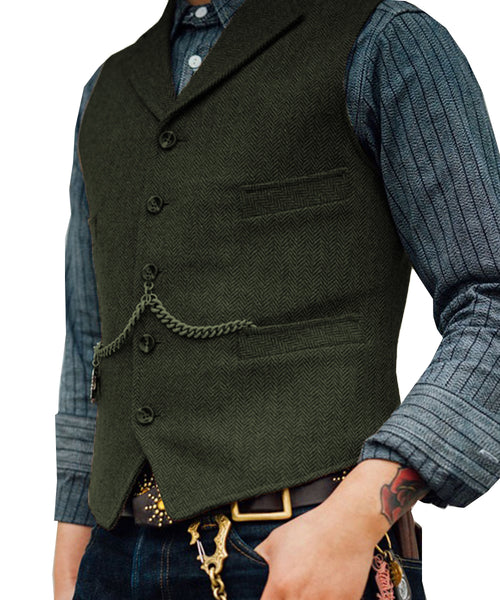 Tweed Slim Fit Gentleman's Waistcoat Army Green / 4XL - Go Steampunk