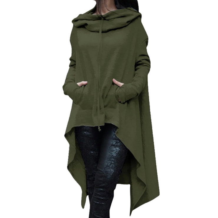 Long Pullover Plus Size Hoodie Army Green / 4XL - Go Steampunk