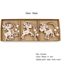 12PCS/Box Vintage Hollow Wood Christmas Ornaments Deer Style - Go Steampunk