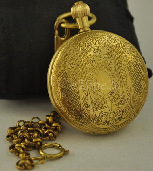 High Quality Classic Copper Hand Winding Mechanical Pocket Watch