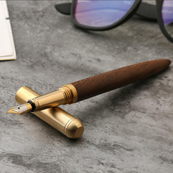 Vintage Rosewood and Brass Fountain Pen