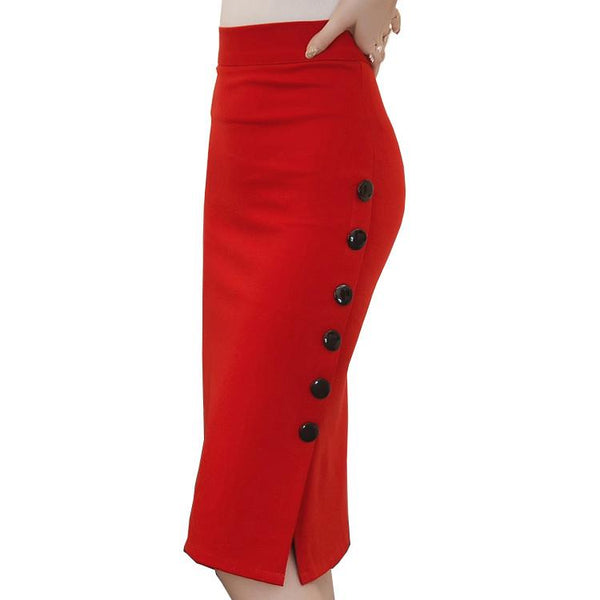 High Waist Side Slit Button Trim Pencil Skirt