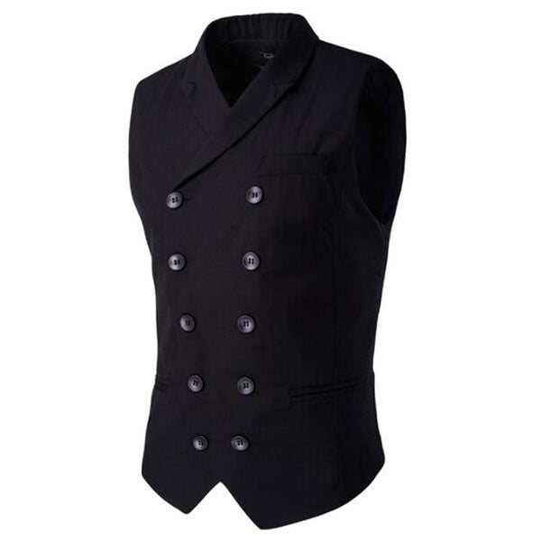 Slim Masculino Cotton Double Breasted Waistcoat