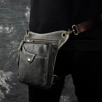 Real Leather Cowhide Vintage Waist Pack Leg Drop Bag grey 2 - Go Steampunk