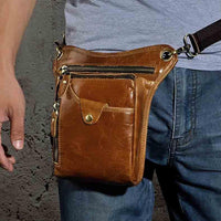 Real Leather Cowhide Vintage Waist Pack Leg Drop Bag light brown - Go Steampunk