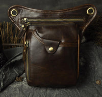 Real Leather Cowhide Vintage Waist Pack Leg Drop Bag Coffee - Go Steampunk