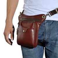 Real Leather Cowhide Vintage Waist Pack Leg Drop Bag wine - Go Steampunk