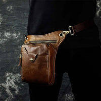 Real Leather Cowhide Vintage Waist Pack Leg Drop Bag light brown 2 - Go Steampunk