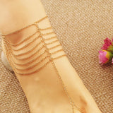 Gold Color Multilayer Chain Anklet