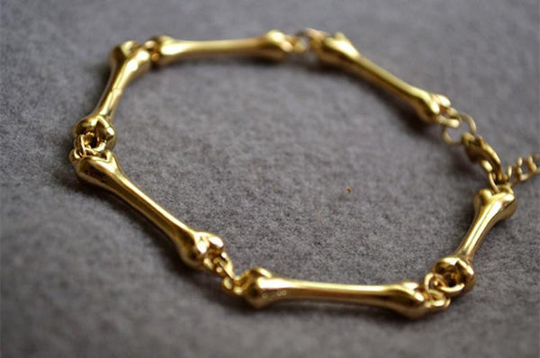 Golden Skeleton Bone Bracelet - Go Steampunk