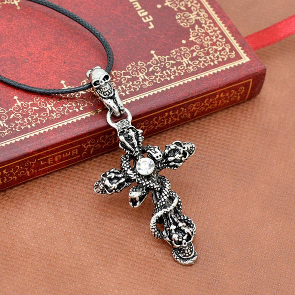 Snake Cross Skull Pendant Necklace - Go Steampunk