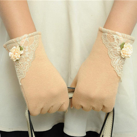 Womens Lace Decorated Wrist Gloves