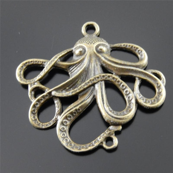 2PCs Mini Retro Bronze Octopus Charm