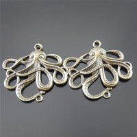 2PCs Retro Bronze Mini Octopus Charm