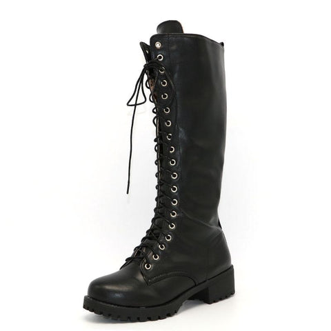 Womens Square Low Heel Knee High Lace Up Boots