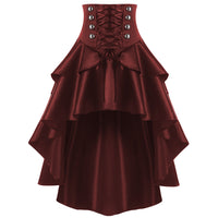 Corset Waist Style Steam Punk Skirt Wine Red / M - Go Steampunk