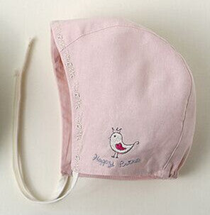 Victorian Style Lace Up Cotton Baby Bonnet With Bird Embroidery