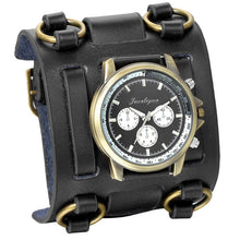 Load image into Gallery viewer, Wide Strap Leather Tachymetre Quartz Watch Black / China - Go Steampunk