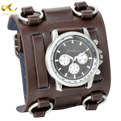 Wide Strap Leather Tachymetre Quartz Watch