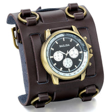 Load image into Gallery viewer, Wide Strap Leather Tachymetre Quartz Watch Brown / China - Go Steampunk